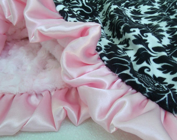 Black and White Damask and Pink Minky Blanket - for baby girl - Pink Rose SwirlCan Be Personalized