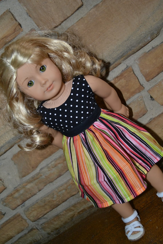 American Girl Doll Clothes - Sherbet Striped Colorblock Dress