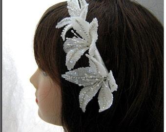 Bridal Flower Headband, Wedding Hair Accessory