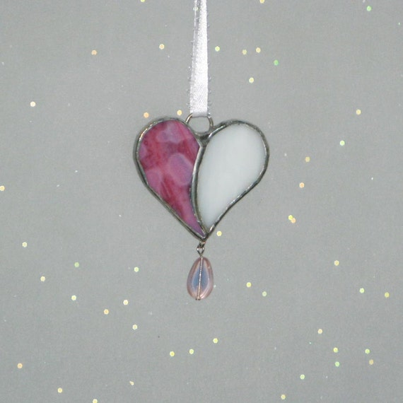 Mini Heart Stained Glass Suncatcher  -  FREE Shipping in the USA
