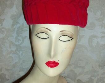 VIntage 50s Pink Red Velvet Hat