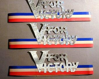 WW II Lot of 3 - V - VICTORY Patriotic Headbands Orig. Cardboard
