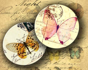 INSTANT DOWNLOAD Digital Collage Sheet Butterflies on Vintage Postcards 1.5 inch circles - DigitalPerfection digital collage sheet 455