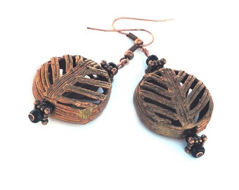 Stylized Leaf Pattern African Trade Bead Drop Earrings, Vintage Brass Beads Handcrafted by Baoule Tribe, Modern Ethnic Flair