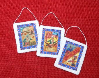 Patriotic July 4th Vintage Postcard Image Ornaments - Set of 3