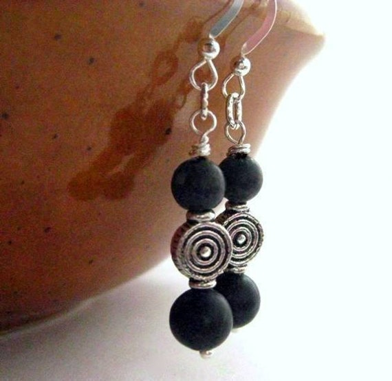 Celtic Earrings Black, Irish Kilkenny Marble. Handmade in Ireland. Dubh Linn