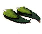 Leather earrings. Long dangle feather leather earrings. Green color