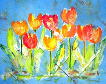 Tulips in Royal Blue Giclee on Canvas