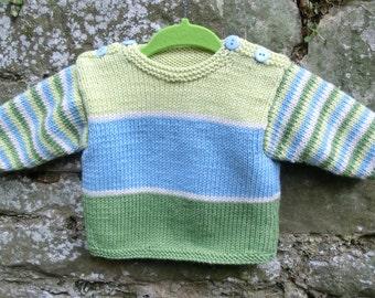 Stripy baby sweater knitting Pattern PDF