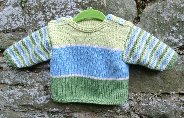 Baby Jumper Knitting Pattern : Stripy baby sweater knitting pattern pdf