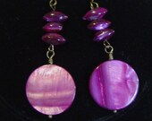 Luscious Maroon Shell Disc and Bronze Earrings