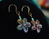 SALE - Antiqued Flower Earrings in Turquoise Blue