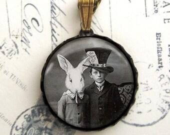 Mad Hatter With Rabbit Portrait Alice In Wonderland Antiqued Brass Pendant Necklace