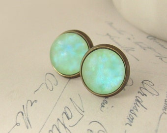 The Frosty Mint Blues Antiqued Brass Post Earrings Aqua Blue Green Stud Earrings Hypoallergenic