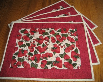 Quilted Placemats with Strawberries - Set of 4