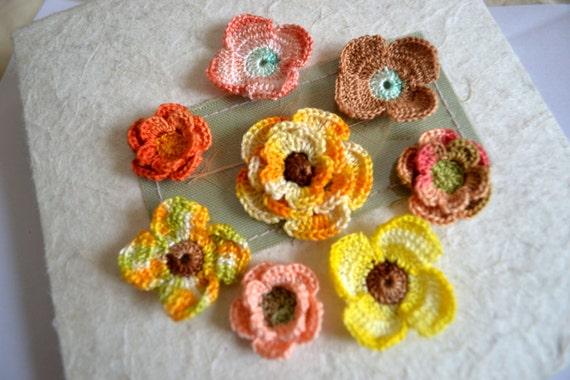Crochet  flowers 3d appliques scrapbooking bright set of 8