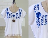 70s bohemian blouse - mexican oaxaca white azure blue embroidery fringe blouson top small medium large