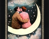 Lovers on a Paper Moon - Romantic Wall Art - Paper Moon Kiss - Art Nouveau Giclee Print - Bedroom Wall Art