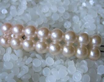 vintage barrette, faux pearls ,soft pink, blush color