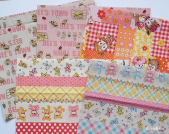 SALE -  Kawaii Japanese Fabric - 5 Fat Quarter Bundle Set - F164