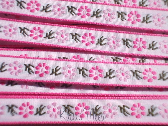Cute Japanese Woven Trims - Pink Flower - 1 M