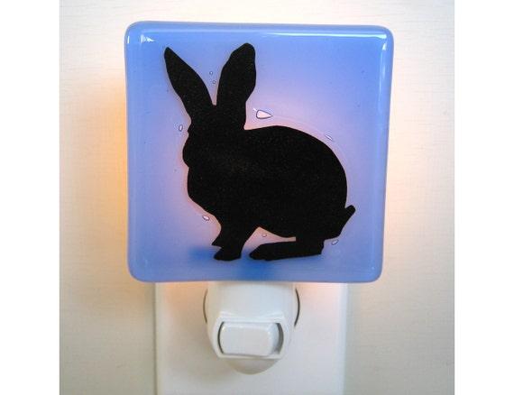 Rabbit Night Light - Hand Painted Glass Night Light - Rabbit Gift - Pale Blue