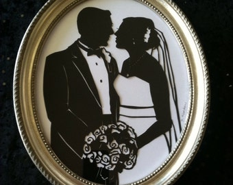 First Anniversary Paper Gift Custom Wedding Silhouette