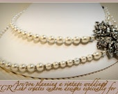 Wedding Special Occasion two strand ivory Pearl, Silver and Crystal Brooch Necklace