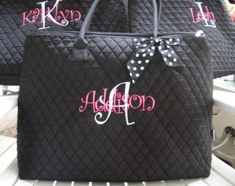 Personalized black or Navy blue quilted monogrammed tote bag