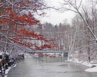 Over the River 8x10 Winter Landscape and Nature Snow Scene Photograph Cleveland Metroparks Red and White Art