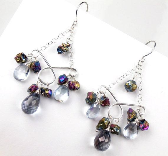 ON SALE 30% OFF  - Druzy Chandelier Earrings Bold  Wire Wrap Sterling Silver Gemstone Nuggets Statement Titanium