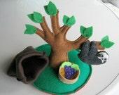 Sloth Playset stuffed plush animal with tree food and snuggle bag - rain forest animal