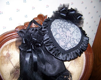 Western Ladies Victorian gray and Black Lacey Demask teardrop Hat with matching Black satin Reticule, Civil War,Costume