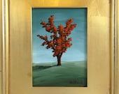 Fall Tree - Orange - Original Acrylic Painting Framed