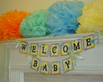 Welcome Baby Banner-Baby Photo Prop-New Baby Banner-New Baby Gift-Nursery Banner-Baby Boy Shower-Baby Photo Prop-Polka Dot Baby Sign