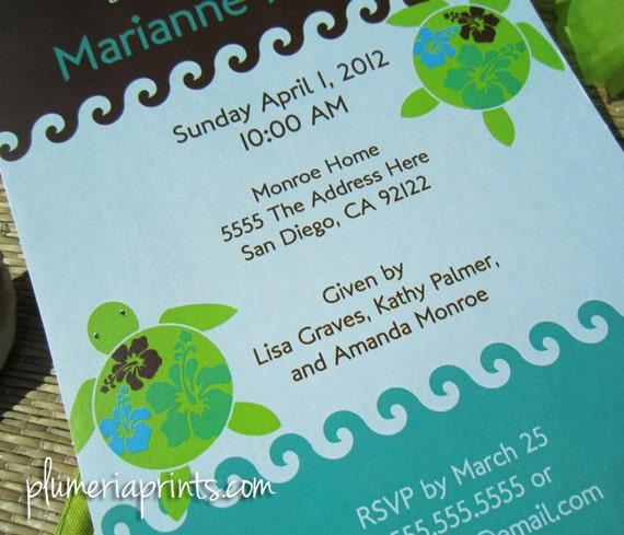 Personalized DIY Printable Invitation - Swimming Sea Turtles - Blue