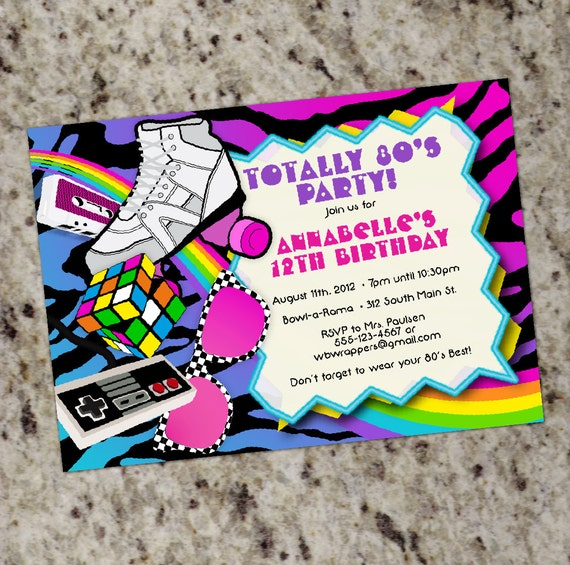 TOTALLY 80s 1980s themed Birthday Party Invitations