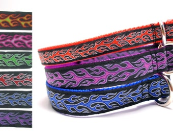 Hot Rod Flames Dog Collar - 6 Colors to Choose From
