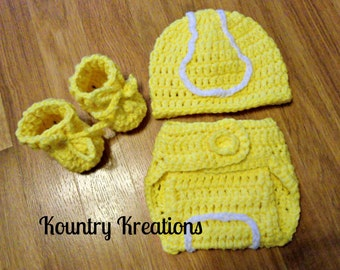 Three Piece Set My LITTLE TENNIS PLAYER Hat/Diaper Cover/Booties (Ready to Ship)