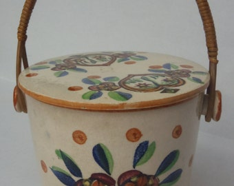 Japanese Porcelain Jar with Lid Rattan Handle Canister Bucket Pail Cookie Jar