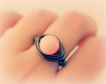 Pink Jade Ring - Baby Pink, Coral, Brown, Antiqued, Brass, Lovely, Simple, Round, Romance, Soft, Mom, Everyday, Jewelry Rings