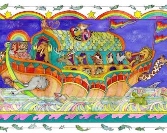 NOAH'S ARK. Lions. Wild Animals. Beasts. Elephants, Giraffes. Unicorns. 2 By Two. Decorative. Fun. Gift. Nursery Painting. Kids' Bible Story