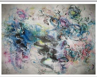skim Abstract painting ink art original landscape pink blue green yellow black art modern acrylic contemporary colorful flower artsale