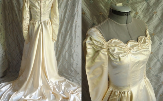 Wedding Dress // Vintage 40s 50s Liquid Satin Wedding Dress