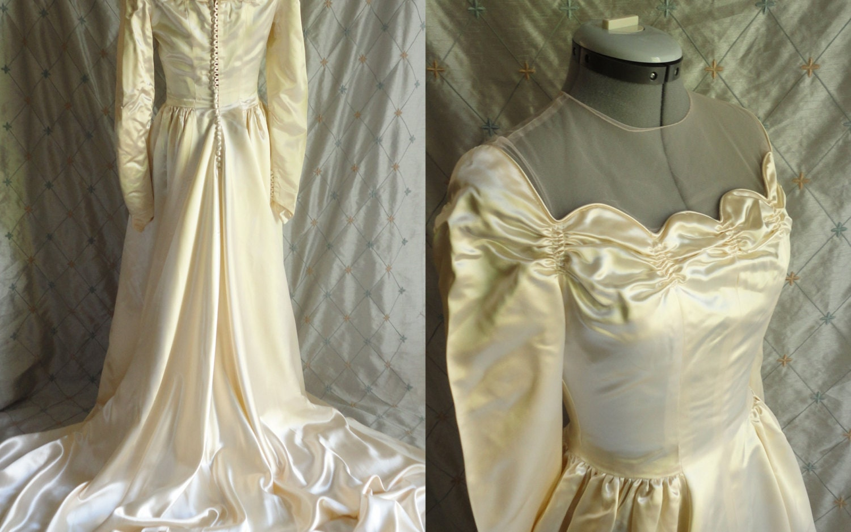 Classic Wedding Dress Satin: Wedding Dress // Vintage 40s 50s Liquid Satin By ChiffonLounge