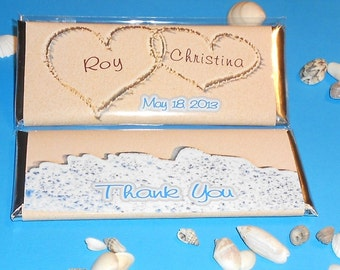 Beach Themed Favor - Hearts in the Sand Wrapped Chocolate Candy Bars - Set of 12 - Shower Wedding Favor