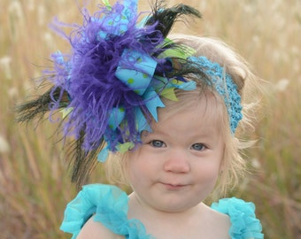 Peacock Feather Turquoise, Lime and Royal Over The Top Boutique Hair  Bow Free Shipping On All Addional Items