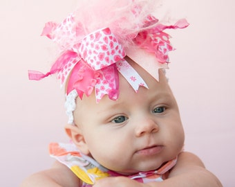 Beautiful Hot Pink Leopard Over The Top Funky Boutique Hair Bow on Headband Free Shipping On All Additional Items