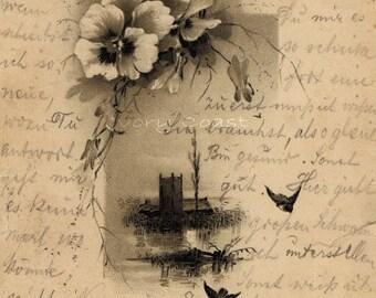 Castle with Flowers Antique Postcard. Digital Download. Ephemera, handwriting, script, letter, sepia, romantic, European, instant, 12PS/PSFP
