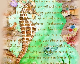 How to walk your Seahorse word art by Tamyra Crossley.  Digital Download.
